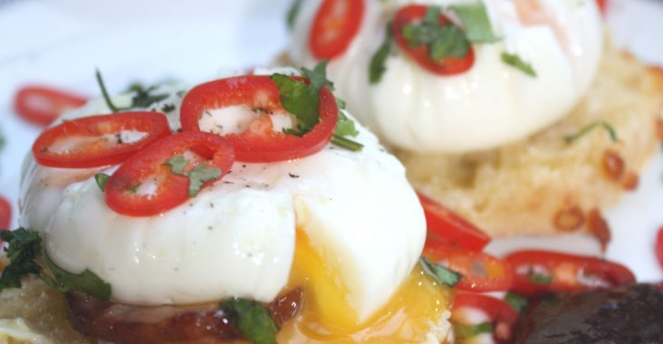 Keighley Cheese Muffins with Poached Eggs (and Optional Sausage)